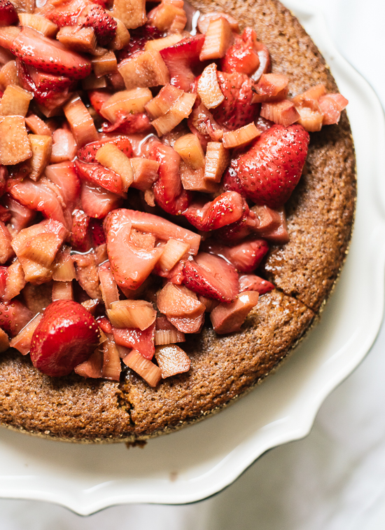 almond-cake-with-roasted-strawberries-and-rhubarb
